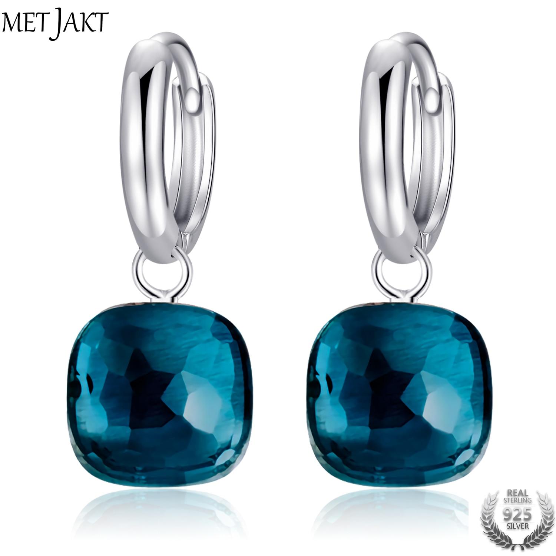 MetJakt Classic Blue Topaz Drop Earrings Solid 925 Sterling Silver Pendant Earring for Women s Occasions
