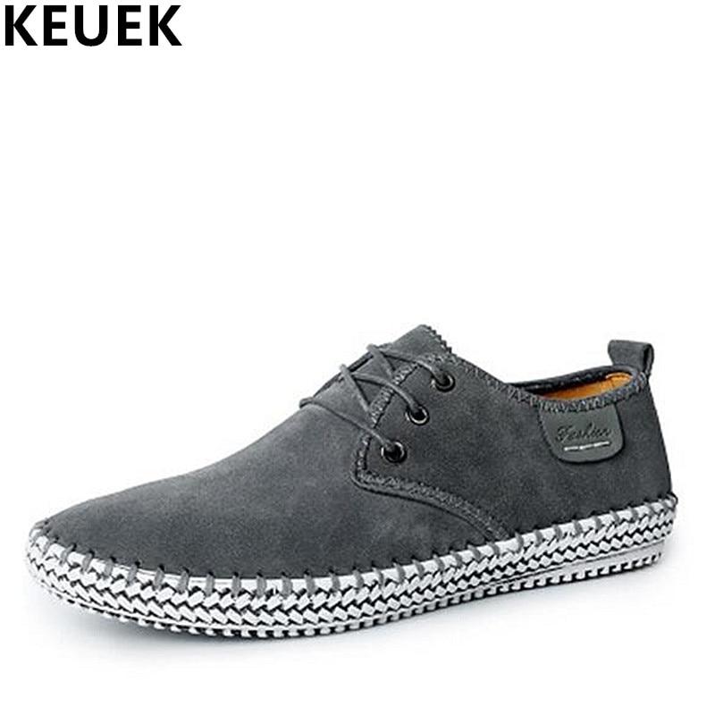 Main up Casual À Sneakers Mâle Appartements Chaussures La 02c Noir Grande gris Taille Mocassins Dentelle Cuir Véritable Mode Printemps Hommes bleu Respirant Souple Uqxq0nZ