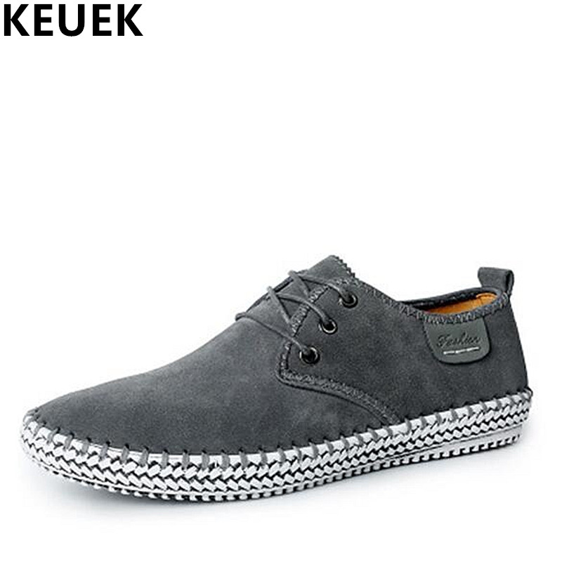 Large size Spring Men Casual shoes Handmade Genuine   leather   Soft Breathable Loafers Male Lace-Up Flats Fashion Sneakers 02C