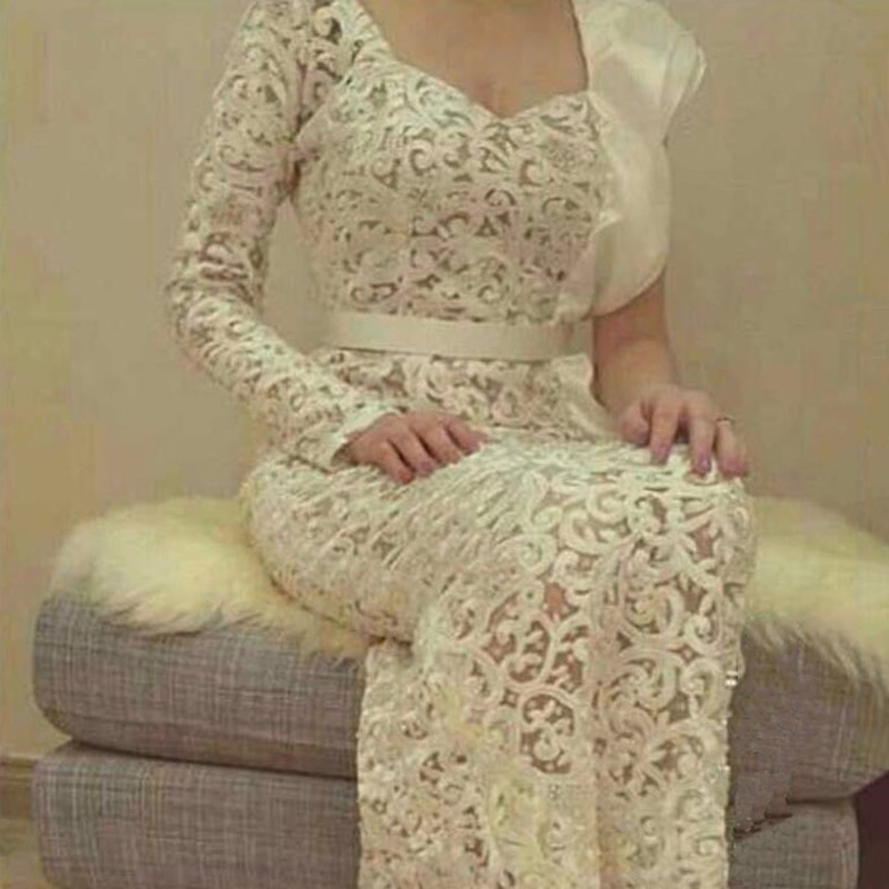 Arabic White Lace Long Vestidos De Festa Straight One Shoulder Sleeves Evening Dresses