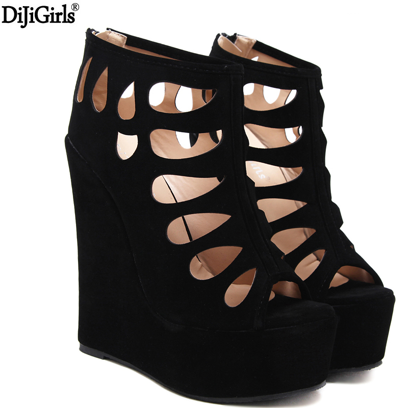 Sandalias Mujer Women Sandals Platform Gladiator High Heels 16cm Fashion Punk Hollow Out Thick Heel Platform Shoes