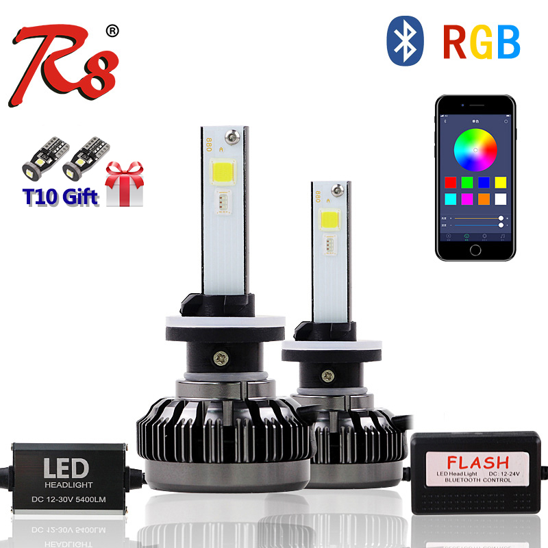 R8 APP Bluetooth Color Remote Control Car Head Lamp RGB LED Headlight Bulbs H1 880 881 H27 H7 40W 6000LM COB Chips All Colors