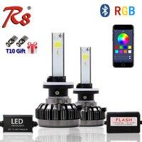 R8 APP Bluetooth Color Remote Control Car Head Lamp RGB LED Headlight Bulbs H1 880 881 H27 H7 40W 6000LM COB Chips All Colors