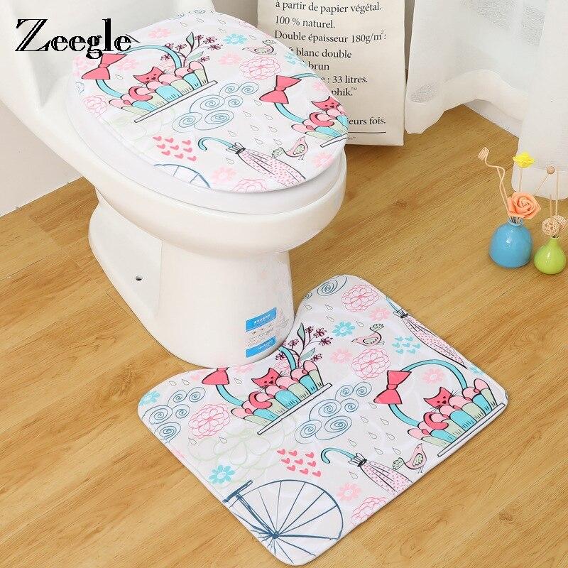 Deftig Zeegle 2 Stks Badmatten Badkamer Sets Wc Badmatten Antislip Vloer Tapijt Matras Voor Badkamer Cartoon Dieren Gedrukt Decor