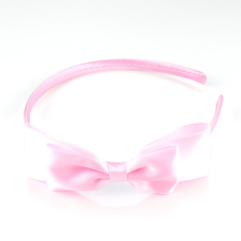 Girl Hair Clasp with Large Satin Ribbon Bow Plastic Headband DIY Headwear Accessories Party Birthday Christmas Gifts
