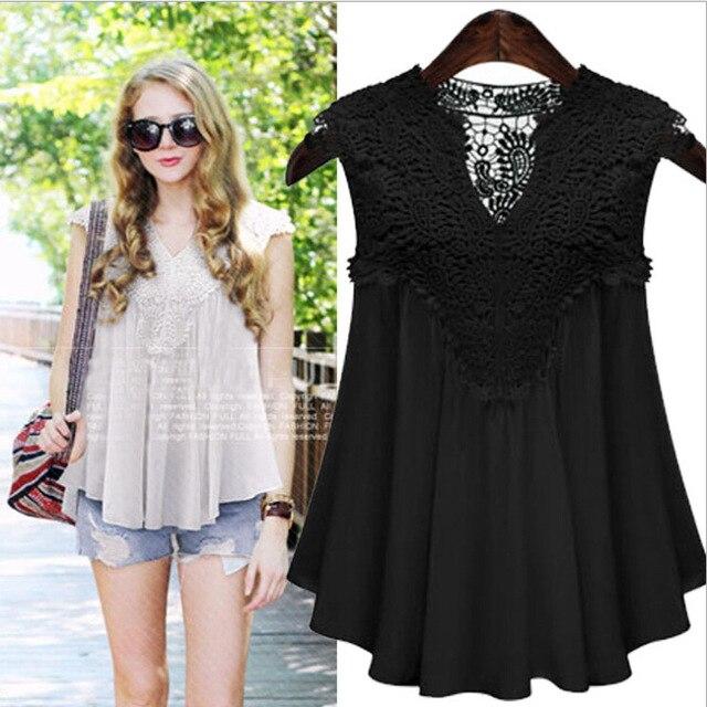 7ba72bb41b5 Hot Vintage Blusas 2018 Summer Lace Crochet Blouse Hollow Out Chffion Shirt  Patchwork Fashion Women Tops boho shirt
