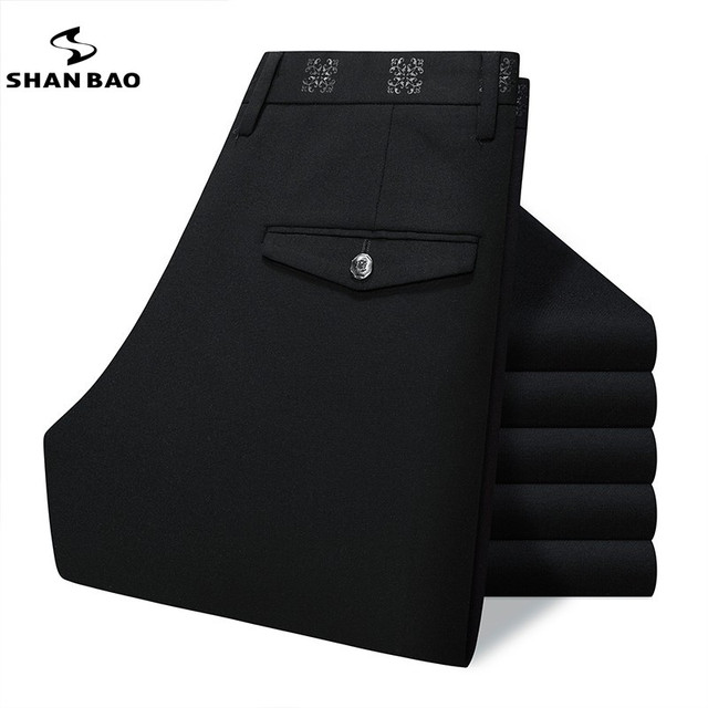 SHAN BAO brand clothing pure black men's business casual Slim elastic casual pants trousers high quality decals gentleman autumn
