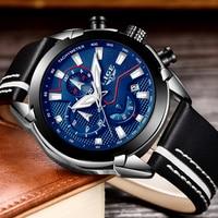 LIGE Модный Спортивный Хронограф КОЖА Для мужчин s часы лучший бренд класса люкс кварцевые часы Для мужчин Повседневное Водонепроницаемый ча