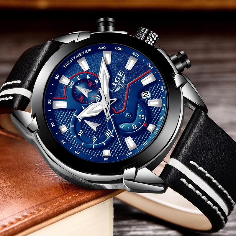 LIGE Fashion Sports Chronograph Leather Mens Watches Top Brand Luxury Quartz Watch Men Casual Waterproof Watch Relogio Masculino цена