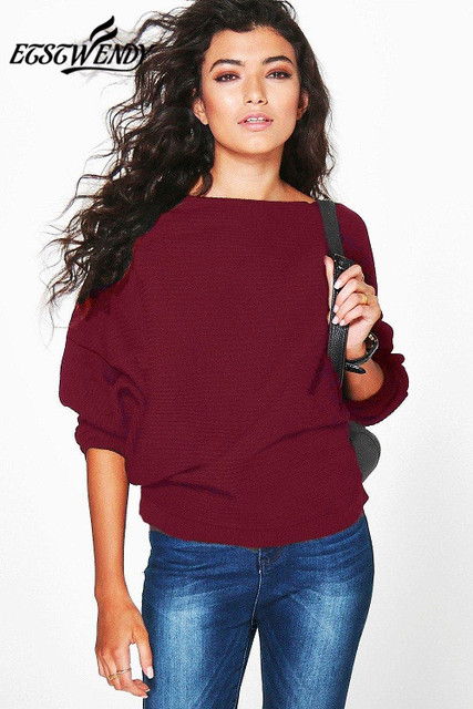 Batwing Long Sleeve Knitted Sweater Solid Color Pullover Sweater  5