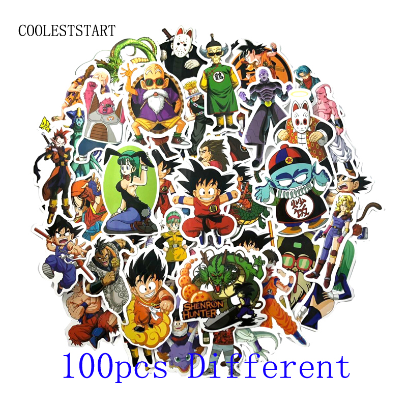 36-100Pcs Anime Dragon Ball Stickers Super Saiyan Goku Stickers For Car Laptop Skateboard Pad Bicycle PS4 Phone DIY Car Decal cool car style game console and handle protection stickers skin decal for ps4