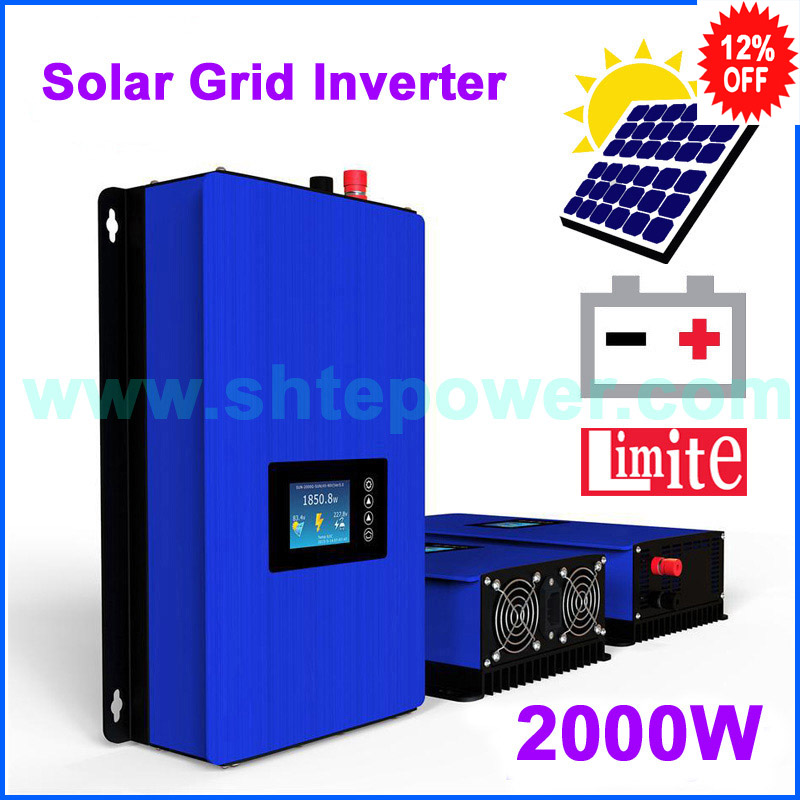 2000GTIL2-LCD New solar inverter 2000w with battery discharge power function DC 45-90v input converter to AC output new grid tie mppt solar power inverter 1000w 1000gtil2 lcd converter dc input to ac output dc 22 45v or 45 90v