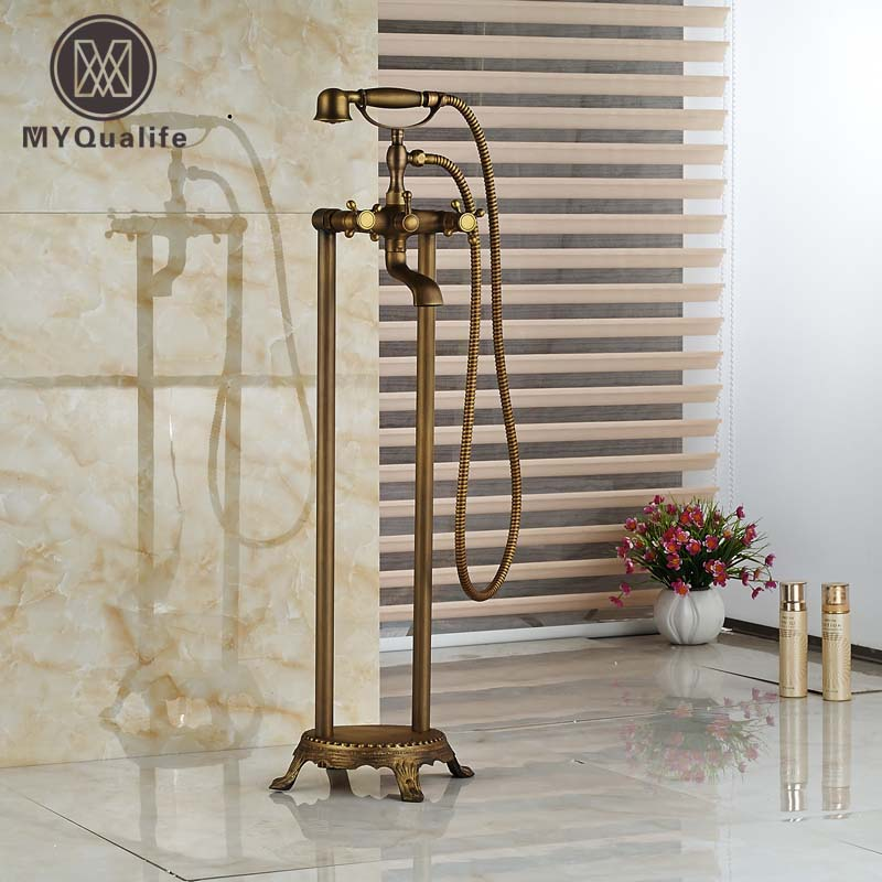Brass Antique Dual Cross Handles Tub Filler Free Standing Floor Mount Bathroom Bathtub Faucet with Handshower oil rubbed bronze waterfall tub mixer faucet free standing floor mount bathtub faucet with handshower