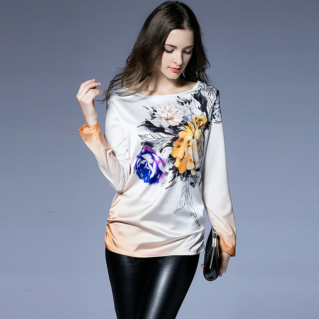 New Autumn Women T Shirt High Quality 2016 Tops Tees Women Clothing Satin  O-Neck 3171f3b3fcfd