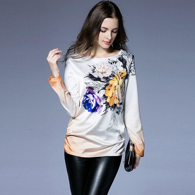 Outono nova Camisa Das Mulheres T de Alta Qualidade 2016 Cobre T mulheres Roupas de Cetim O-pescoço Trabalho Moda Camisetas XXXXL XXXXXL Mais tamanho