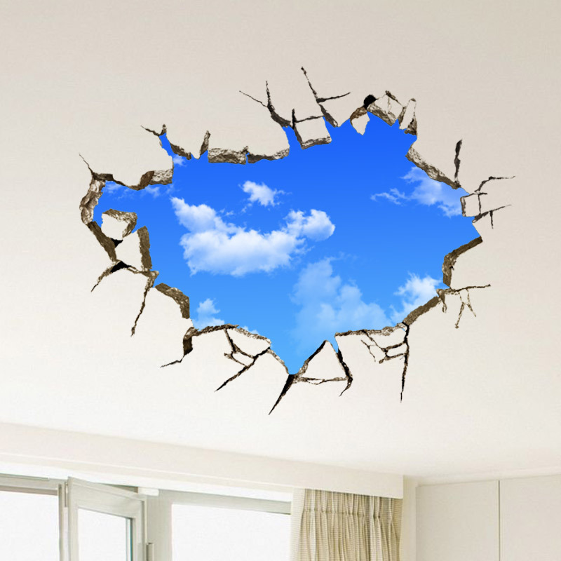 1 PCS fashion personality 3D stereo wall stickers blue sky white clouds  stickers living room childrenu0027s