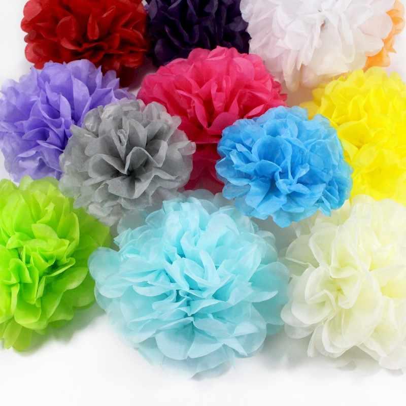 1 Uds. De pompones de papel tisú de 4/6/8/10/12 pulgadas, bolas de papel para manualidades creativas DIY, suministros de decoración para cumpleaños, boda y hogar