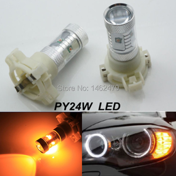Pair Canbus PY24W High Power For Cree Chips LED Bulb Front Turn Signal Lights For Audi Q5 2009 and up (with HID headllamps)