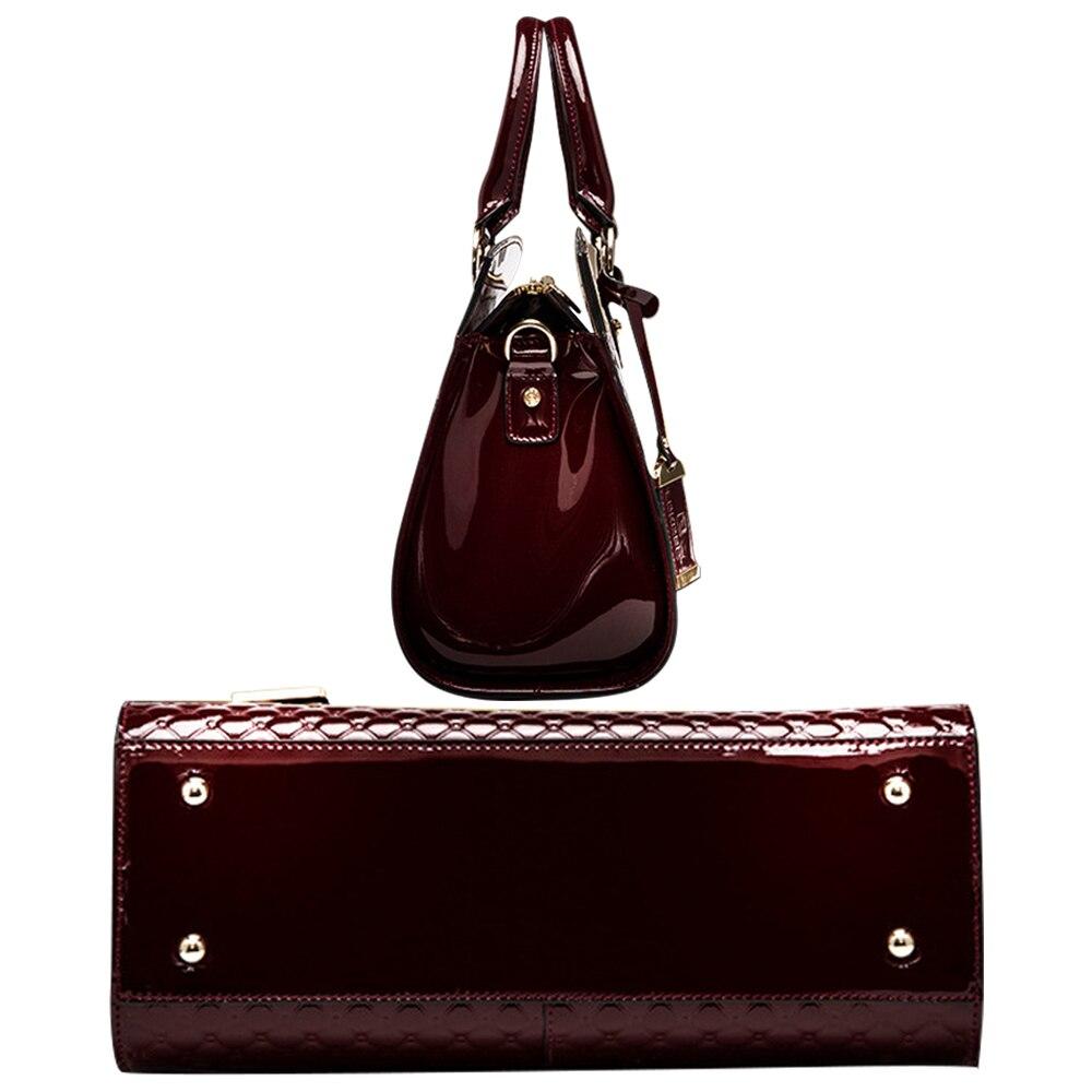 Femmes véritable cuir verni sacs à main de luxe épaule sac à bandoulière sac à main Designer sac à main sacoche Messenger sac dames fourre-tout - 5
