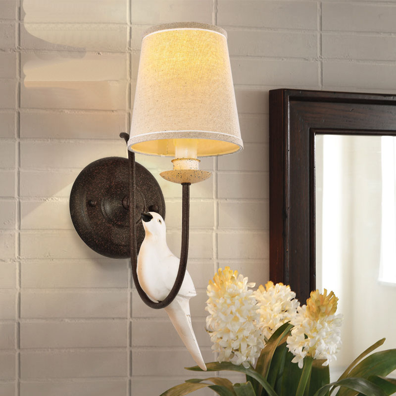American country birds antique wall lamp sitting room lamps bedroom the head of a bed lamp wall lamp adornment wall light american creative fashion led the study bedroom mirror before the long arm of the head of a bed wall lamp wrought iron long arm