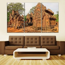 Ancient Architecture Painting 3 Piece Style High Quality Canvas Print Type Modern Home Decorative Wall Artwork Poster