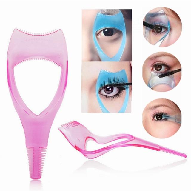 6341ae78af6 Random Color Make Up 3 In1 Mascara Applicator Guide Guard False Eyelashes  Baffle Comb Cosmetic Plastic Brush Curler Makeup Tools
