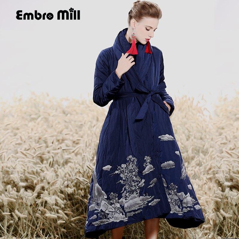 Royal broderie Doudoune manteau femmes d'hiver vintage lâche lady long floral épais chaud Blanc Duvet de canard Parkas femme M-XXL