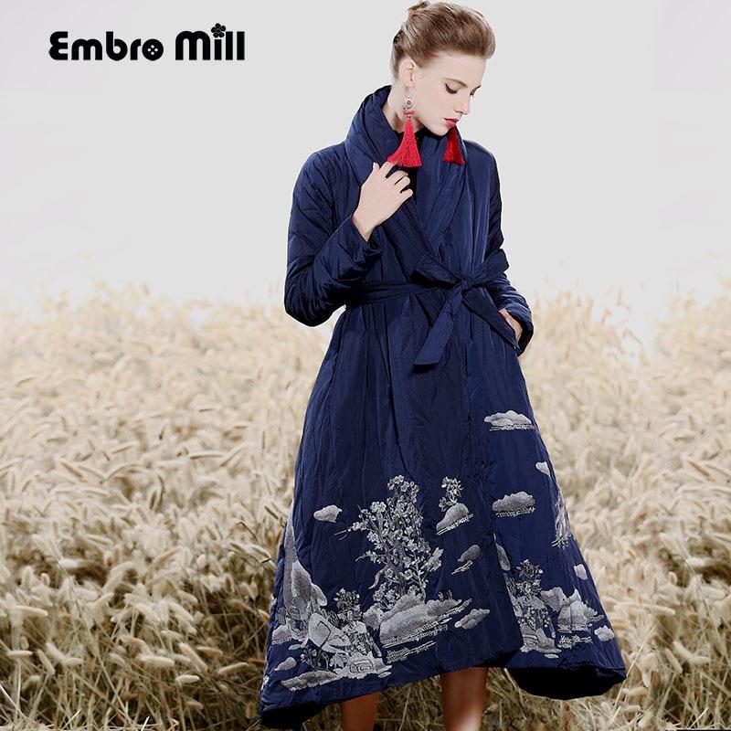 Royal ricamo Piumino cappotto di inverno delle donne dell'annata allentata della signora long floreale caldo di spessore piume d'anatra Bianca Parka femminile M-XXL