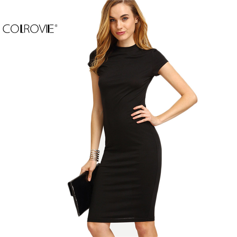 COLROVIE Womens Work Wear Sheath Dresses Sexy Newest Solid Black Cap Sleeve Crew Neck Knee Length Bodycon Dress
