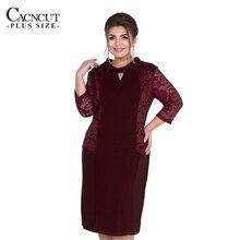 CACNCUT 2019 Plus Size Summer Women Lace Dress Spring Big Large size Casual Office Elegant Ladies Party Vestidos 5XL 6XL