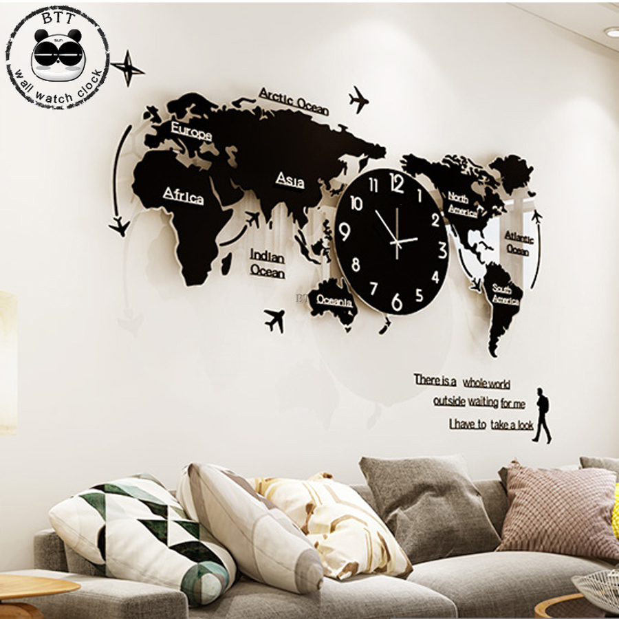 120x55cm World Map Large Wall Clock Modern Design 3D Stickers Hanging Clock Mute Watch Shape Wall Clocks