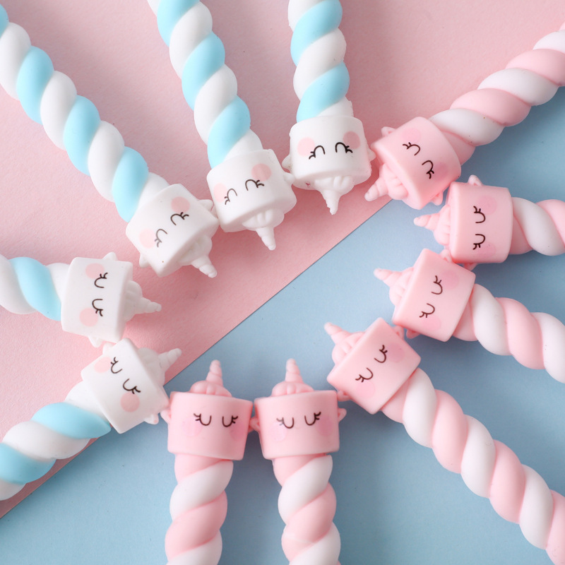 1PC Kawaii Slicone Cotton Candy Unicorn Gel Pen Rollerball Pen School Supply Stationery Black Ink 0.5mm