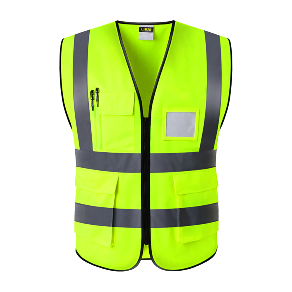 Waterproof Multi Pocket High Visibility With Zipper Waistcoat Reminder Reflective Foldable Worker Safety Vest Night Construction