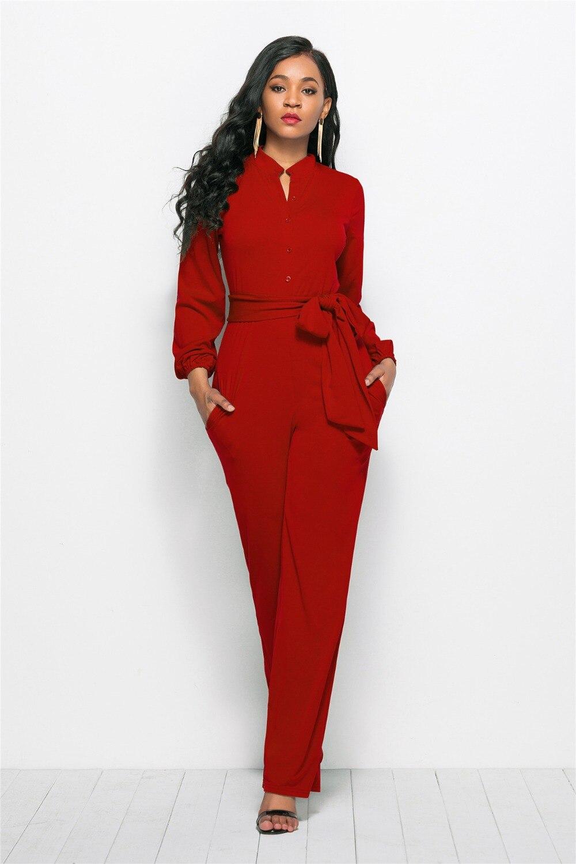 Casual Solid Women Jumpsuit Elegant O Neck Long Sleeve Sashes Lace Up Bandage Jumpsuit Women Office Lady Female Body Jumpsuit