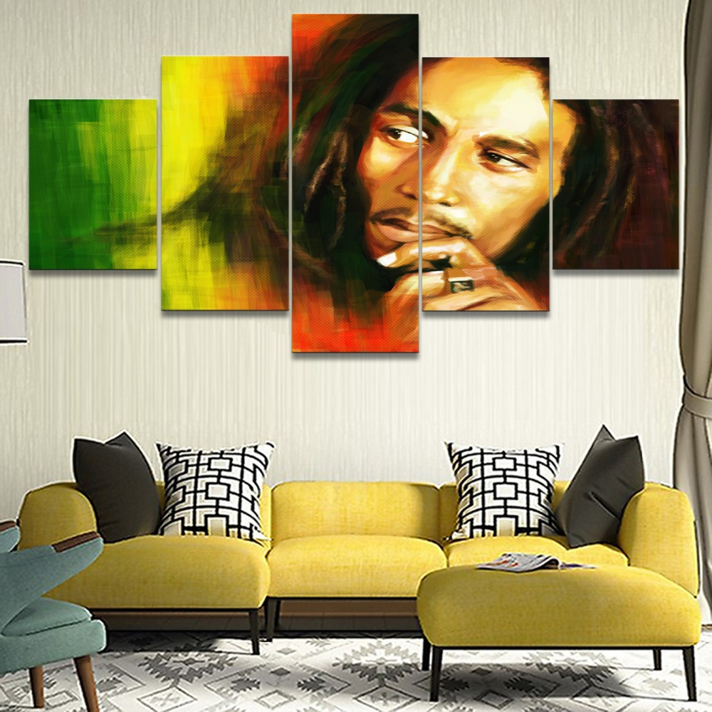 5 Panel Wall Art Painting Music Bob Marley Canvas Printed Home Decor Living Room Modular Poster Artwork Modern Cuadros Picture in Painting Calligraphy from Home Garden