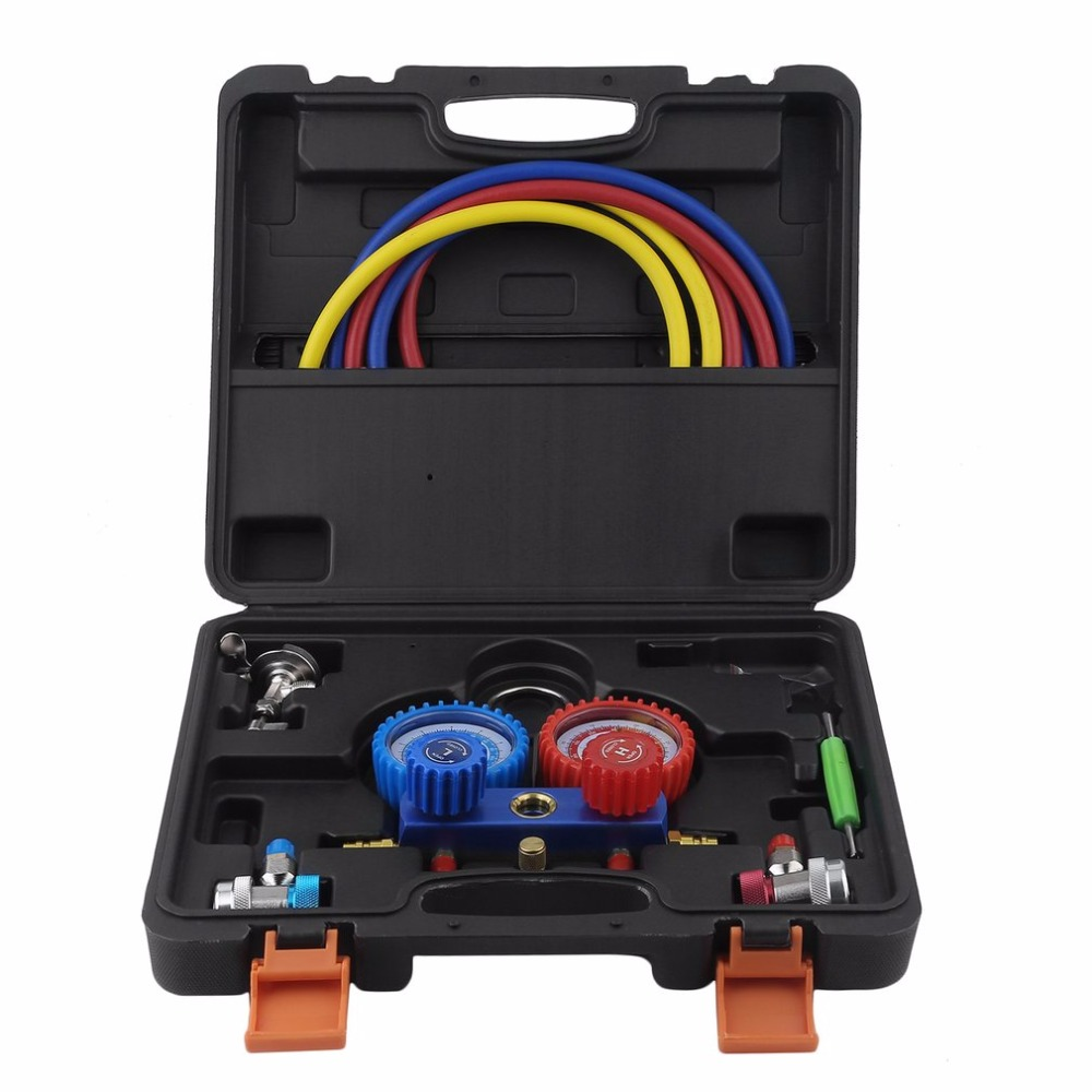 New Air Conditioning AC Diagnostic Tool High Low Pressure Manifold Gauge Tool Set 2-Way Fitting Assistant For R134a R22 R12 R502