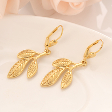 Gold leaf Dangle Earrings Women Fashion Jewelry Gold Metal Drop Earrings For girls kids Gifts wedding bridal metal leaf layered drop earrings