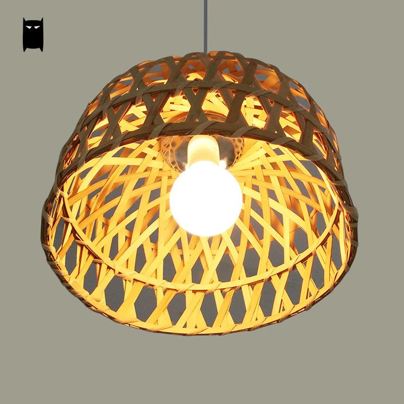 Us 99 0 Round Natural Coffee Bamboo Wicker Rattan Basket Pendant Light Fixture Rustic Country Aisan Anese Vintage Hanging Lamp Abajur In