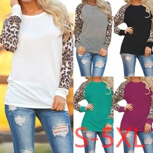 5XL 2017 Plus Size Women Clothing Spring Autumn T-shirt Casual Sexy Splice Leopard Large Big Long Sleeve Chiffion Top
