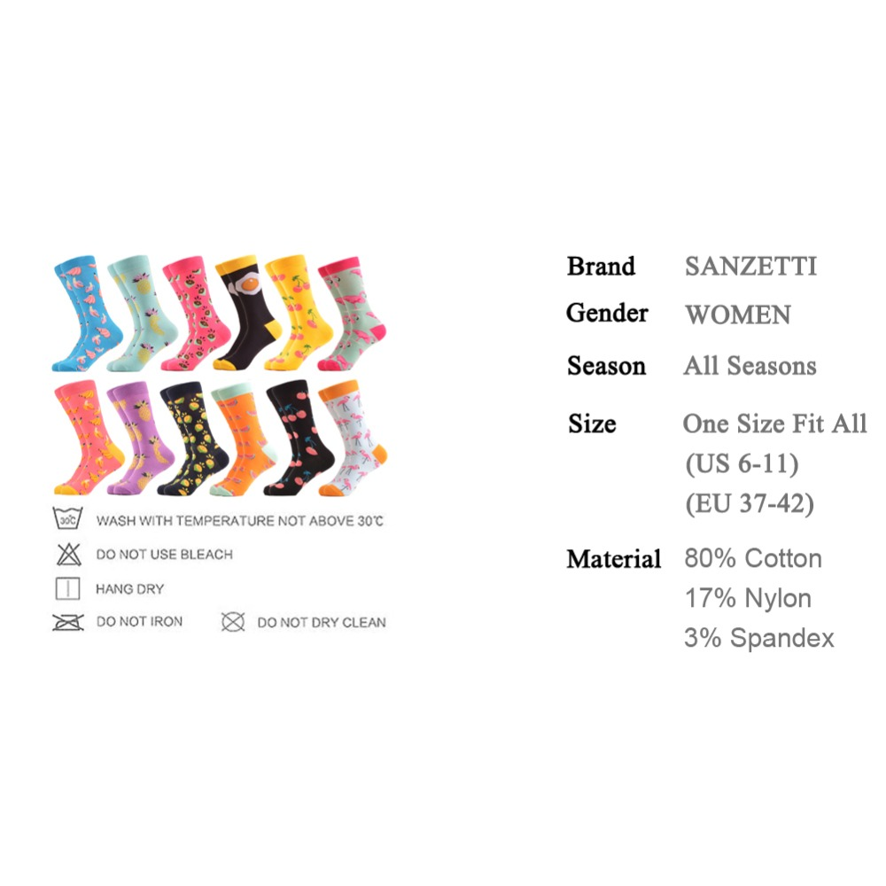 SANZETTI 12 Pairs/Lot Colorful Bright Women Socks Novelty Dot Fruit Egg Pattern Cute Female Combed Cotton For Gifts Happy Socks