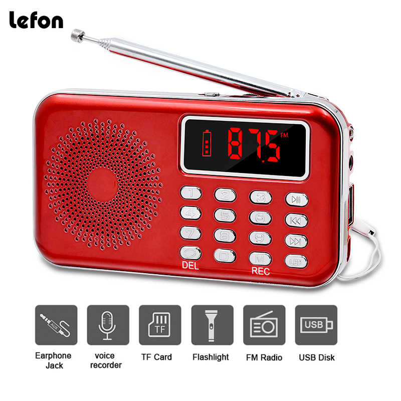 Lefon Draagbare Mini Radio FM Stereo Receiver Speaker Recorder MP3 Speler Ondersteuning TF SD Card USB AUX LED Display Zaklamp