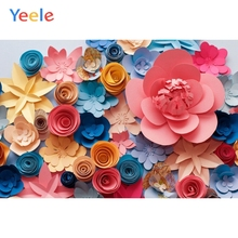 Yeele Multicolored Paper Flowers Wedding Baby Party Photography Backgrounds Personalized Photographic Backdrops For Photo Studio