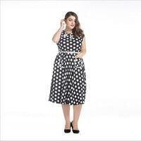 2016 New Womens Summer Cute Dress Femme Bohemian Polka Dot 50s Vintage Elegant Dress Plus Size