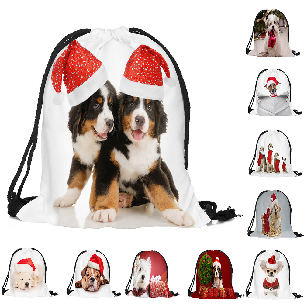 Sleeper #4001 Merry Christmas Candy Bag Satchel Rucksack Bundle Pocket Drawstring Free Shipping