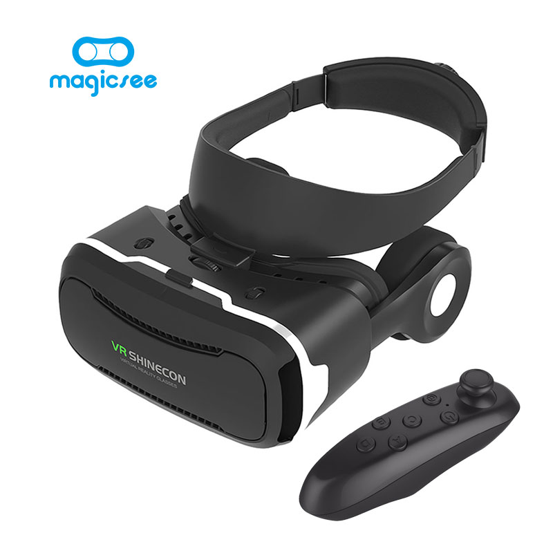 VR Shinecon 4 0 VR Glasses Virtual Reality Google Cardboard with Headphones Bluetooth Gamepad for 4