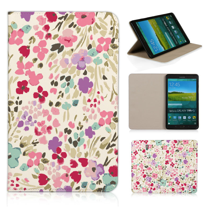 BTD More flower colorful Pattern fresh leather case for SAMSUNG GALAXY Tab S T700 flip protector cover 8.4 inch T 700 cases