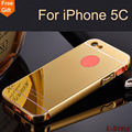Para apple iphone 5c case iphone5c banhado a ouro moldura de alumínio + espelho acrílico tampa traseira phone case para iphone 5c protetor