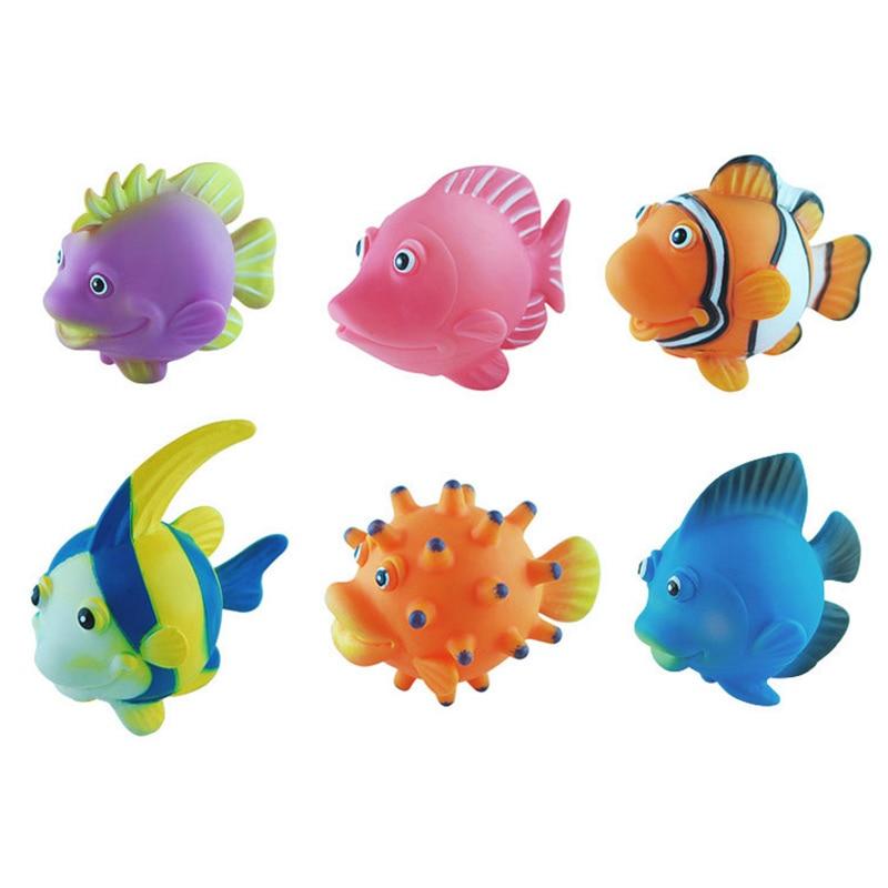 6pcs Squirting Fish Bathtub Toys Spray Cute Cartoon Baby Soft Bath Toy Model Of Marine Animals Toys & Hobbies Classic Toys