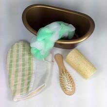 5 Items set Pet Mini Bathtub Bath luffah brush sponge Wood Massage Comb bath glov bath