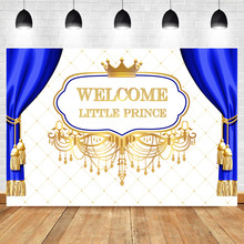 NeoBack Royal Baby Shower Photography Backdrops Welcome Little Prince Sapphire Blue Curtain Studio Shoots